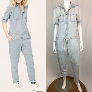 Lou & Grey Linen Tencel Chambray Tapered Jumpsuit